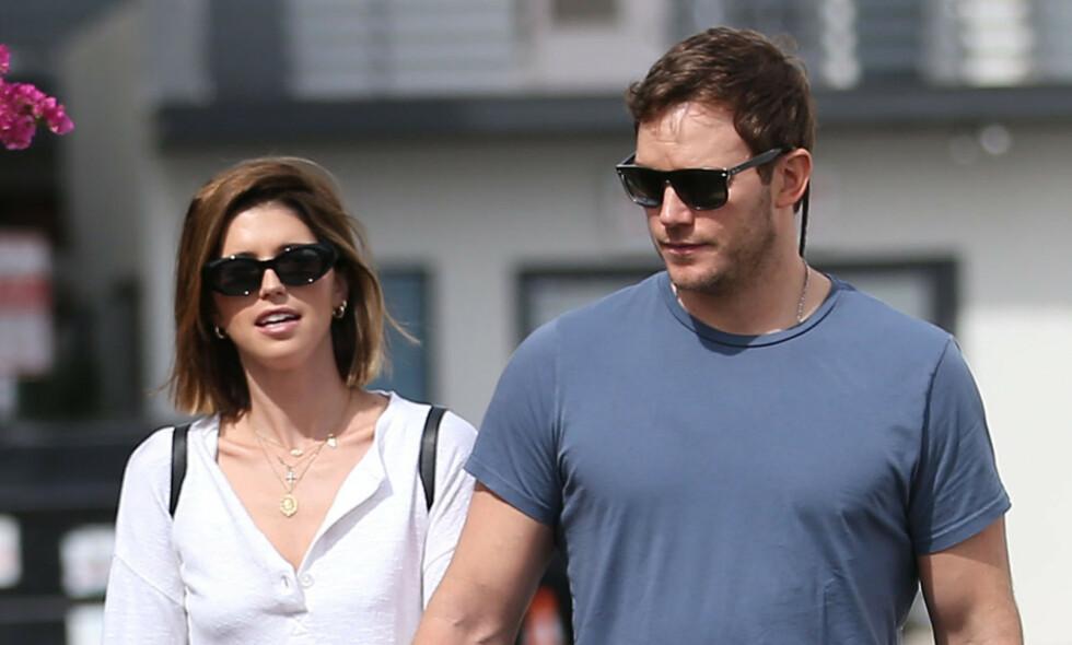 VENTER BARN: Katherine Schwarzenegger og Chris Pratt skal vente sitt første barn sammen, ti måneder etter at de giftet seg. Foto: NTB Scanpix