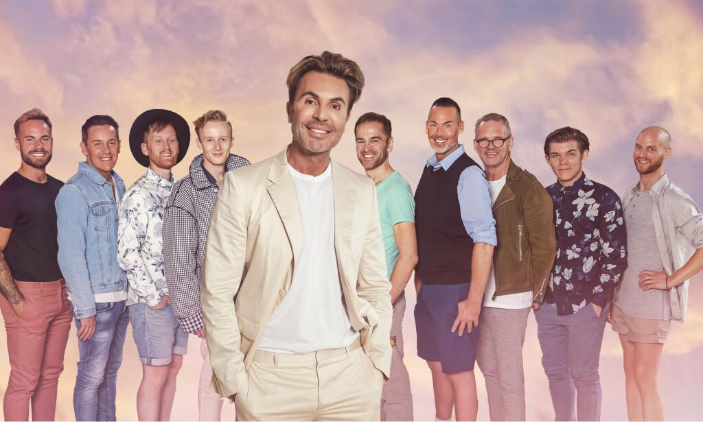 DRØMMEPRINSENE: Jan Thomas avbildet sammen med mennene som fikk bli med ham på tur. Foto: TVNorge
