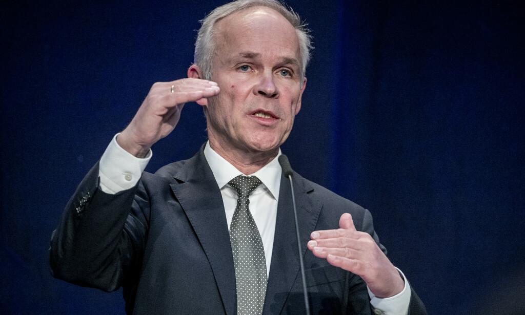 TAUS: Finansminister Jan Tore Sanner vil ikke svare på spørsmålet om ansettelsesprosessen da Nicolai Tangen ble oljefondsjef. Foto: Bjørn Langsem / Dagbladet