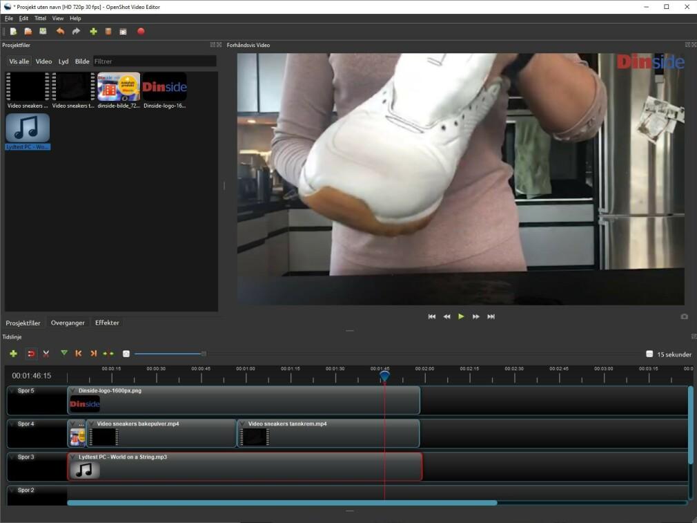 KLASSISK OG ENKELT: OpenShot Video Editor lar deg sette sammen videoklipp, bilder og lyd, og lagre resultatet til én ny videofil som for eksempel kan lastes opp til sosiale medier. Skjermdump: Dinside