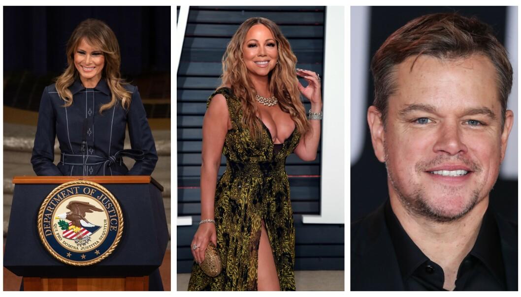USAs førstedame Melania Trump fylte 50 i helga som var. Sanger Mariah Carey og skuespiller og filantrop Matt Damon følger hakk i hæl. Foto: NTB/Scanpix