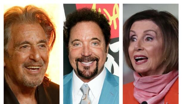 Gudfaren-skuespiller Al Pacino og smørsanger Tom Jones fyller begge 80 år i 2020, men er still going strong: Begge er her avbildet i festsammenheng. Den amerikanske politikeren Nancy Pelosi har allerede feiret milepælen. Hun er speaker i Representantenes hus, og kjent for å ikke holde tilbake når hun langer ut mot Trump. Ingen pensjonisttilværelse i sikte der heller, altså.