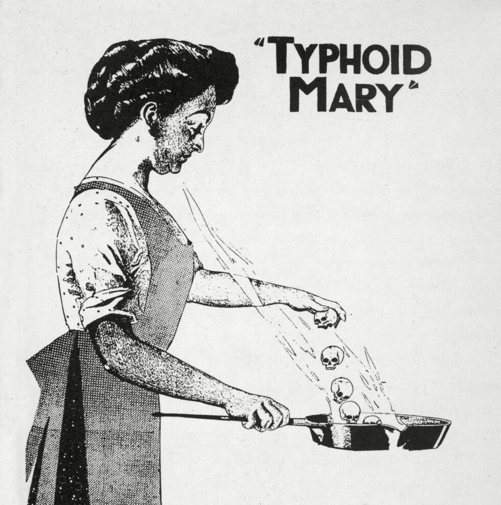 Mary Mallon (1869-1938) fikk tilnavnet Tyfoid-Mary. Hun ble et symbol på smitte og det ble laget en rekke illustrasjoner av henne. Foto: NTB Scanpix