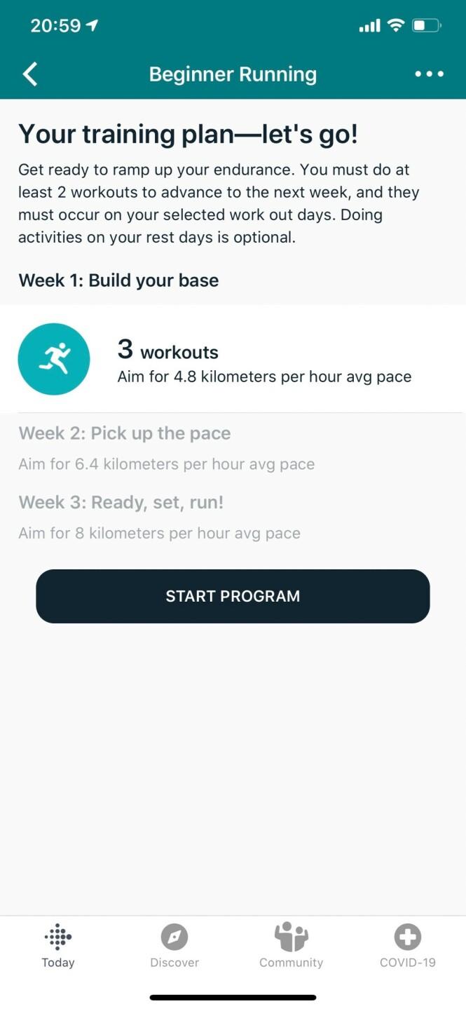 <strong>KOM I GANG MED LØPING:</strong> I Fitbits Premium-tjeneste kan du få hjelp til å sette opp en løpeplan. Skjermbilde: Kirsti Østvang