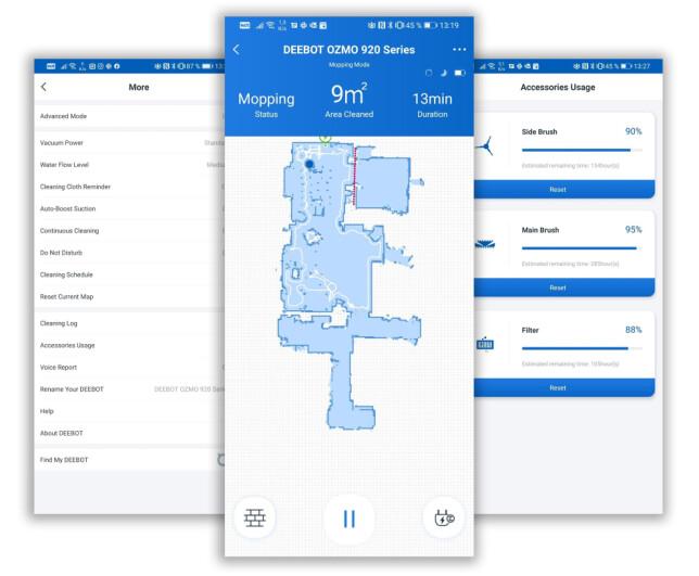 Deebot-appen gir deg kart med mulighet til å dele opp i rom, sette opp virtuelle vegger og følge støvsugingen i sanntid. Skjermbilder: Pål Joakim Pollen