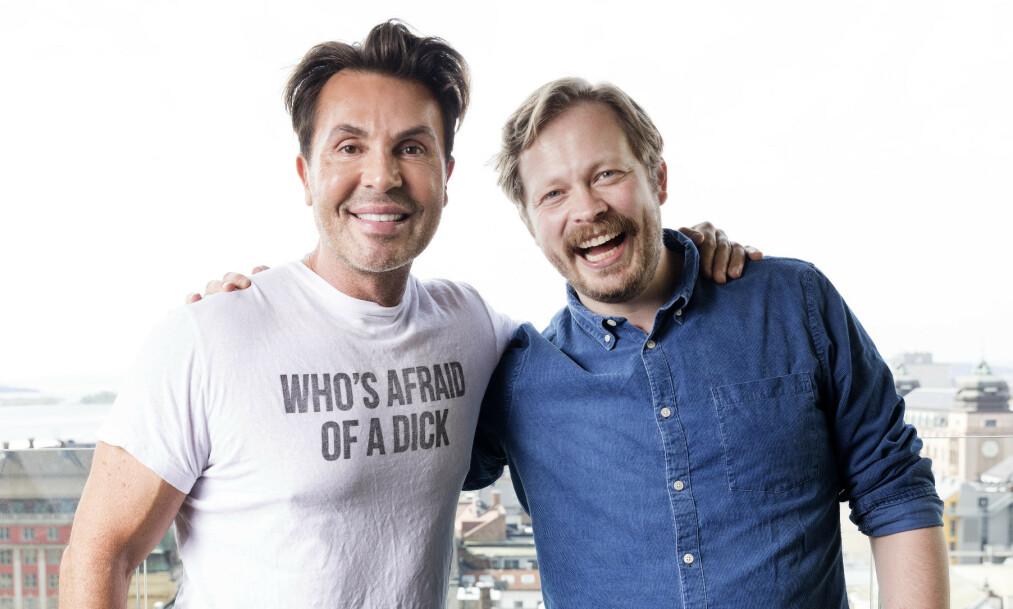 <strong>BLIR TOBARNSFAR:</strong> Einar Tørnquist blir pappa igjen. Nå har han avslørt kjønnet. Her med podkast-makker Jan Thomas. Foto: NTB Scanpix