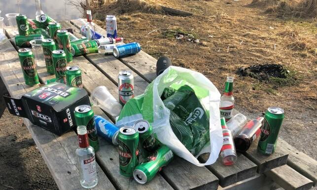 SØPPEL: På rasteplassen hevder Heirsaunet at han fant mellom 70-100 bokser og flasker. Foto: Roald Heirsaunet
