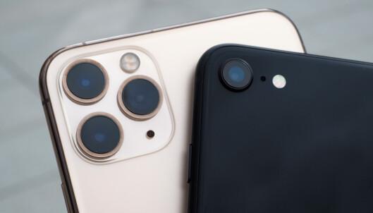 <strong>DEN STORE FORSKJELLEN:</strong> De er ganske åpenbar hva som skiller iPhone SE fra de dyreste iPhone 11 Pro-modellene. Det er tre kameraer bak mot ett. Prestasjonsmessig betyr ikke det nødvendigvis alt. Foto: Kirsti Østvang