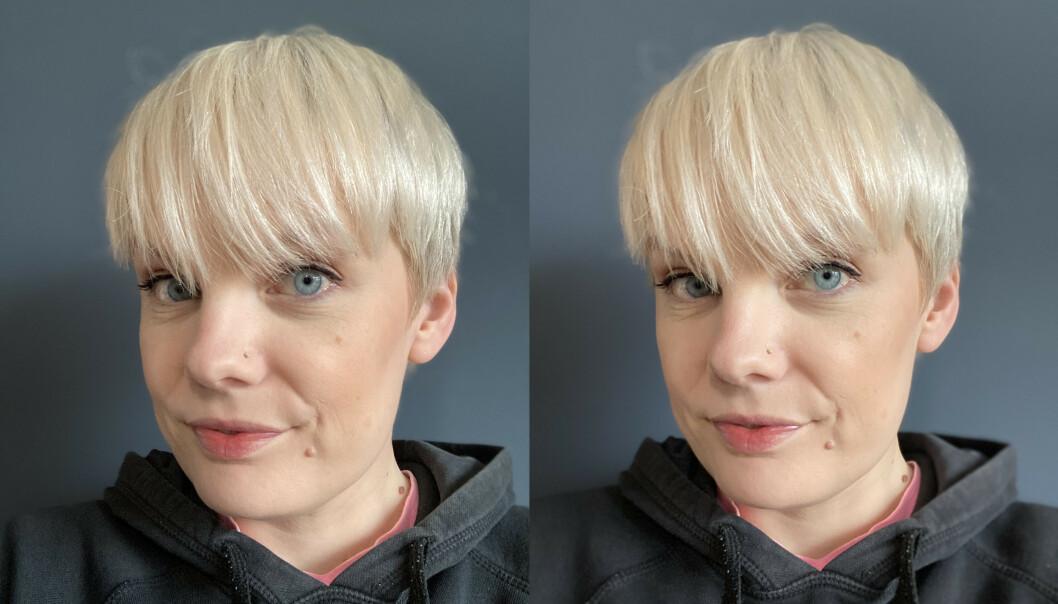 <strong>Frontkamera i portrettmodus:</strong> iPhone SE til venstre, iPhone 11 Pro Max til høyre.