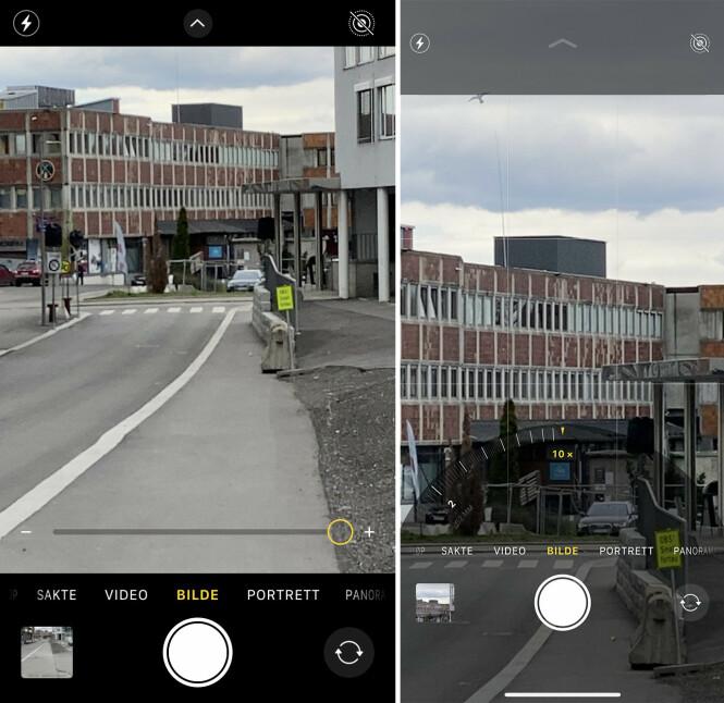<strong>IKKE LIKE AVANSERT:</strong> På skjermbildet til venstre kan du se kameragrensesnittet når du zoomer med iPhone SE. Høyre er iPhone 11 Pro Max.