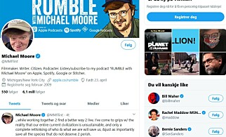 I VINDEN: Michael Moore trives i stormen.