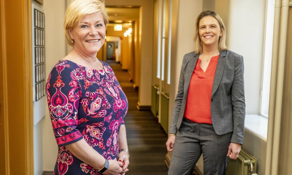 KRITISKE: Leder i Fremskrittspartiet Siv Jensen (t.v.) og nestleder Sylvi Listhaug reagerer på økt CO2-pris. Foto: Hans Arne Vedlog / Dagbladet