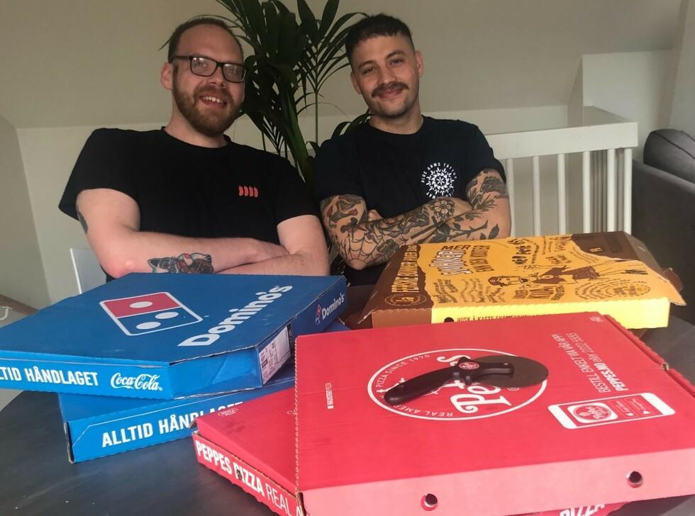 BEST I TEST: De to italienske kokkene Marcello Tiboni og Andrea Selvaggio har testet hjemleveringspizza for Dagbladet. Foto: Privat