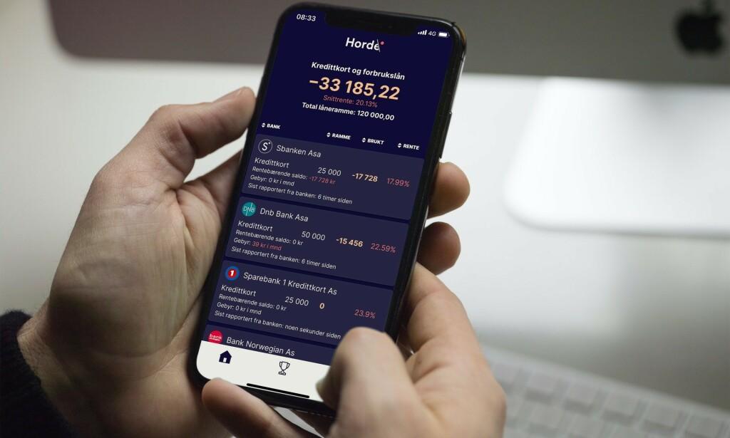 FULL OVERSIKT: Forbrukslån her, kredittkort der... For å gjøre det lettere å beholde – eller gjenvinne – kontrollen, samler appen Horde alt på ett og samme sted. FOTO: Scanpix