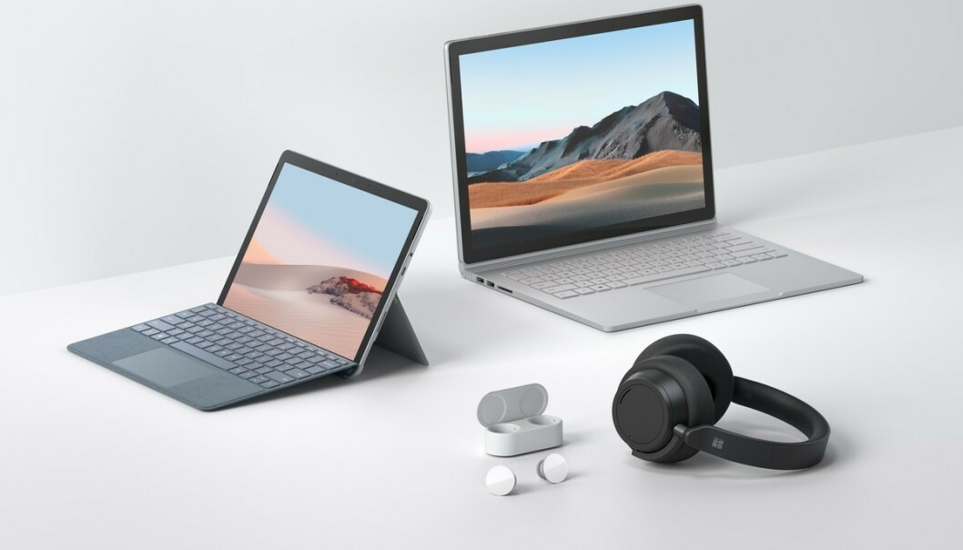 <strong>SURFACE:</strong> Microsoft lanserer Surface Book 3, Surface Go 2, Surface EarBuds og Headphones 2. Foto: Microsoft
