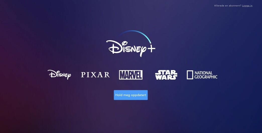 <strong>MÅ VENTE:</strong> Nordmenn som har gledet seg til at Disney+ skulle bli tilgjengelig her til lands, må vente enda litt lenger. Skjermbilde: Kirsti Østvang