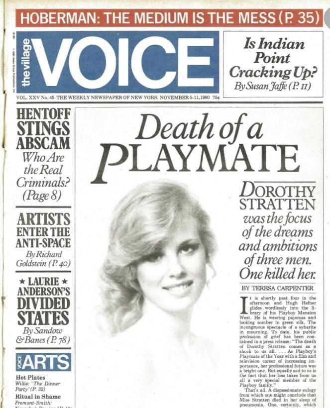 <strong>PRISVINNENDE:</strong> Teresa Carpenters artikkel om Dorothy Stratten vant Pulizer-prisen i 1980. FOTO: Faksimile The Village Voice