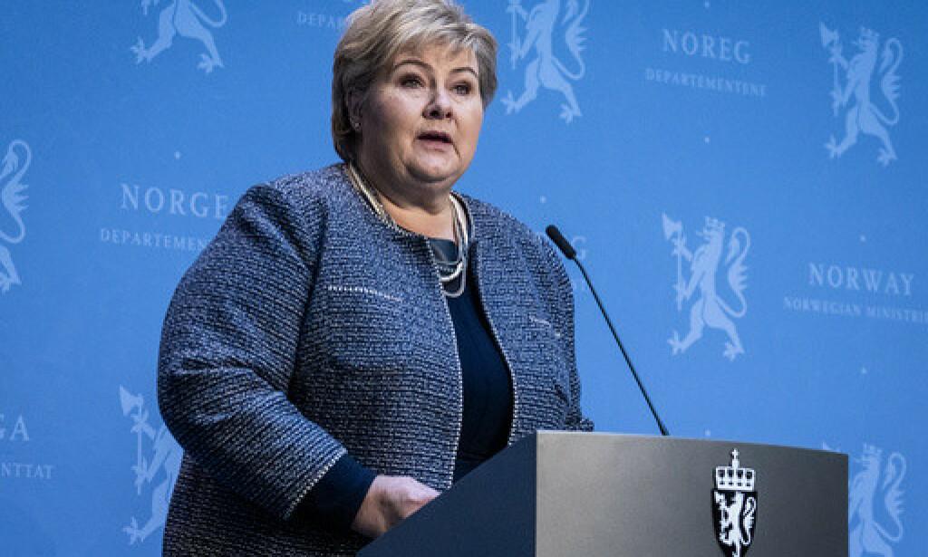 Statsminister Erna Solberg (H) kunngjør torsdag hvordan Norge skal gjenåpnes. Foto: Heiko Junge / NTB scanpix