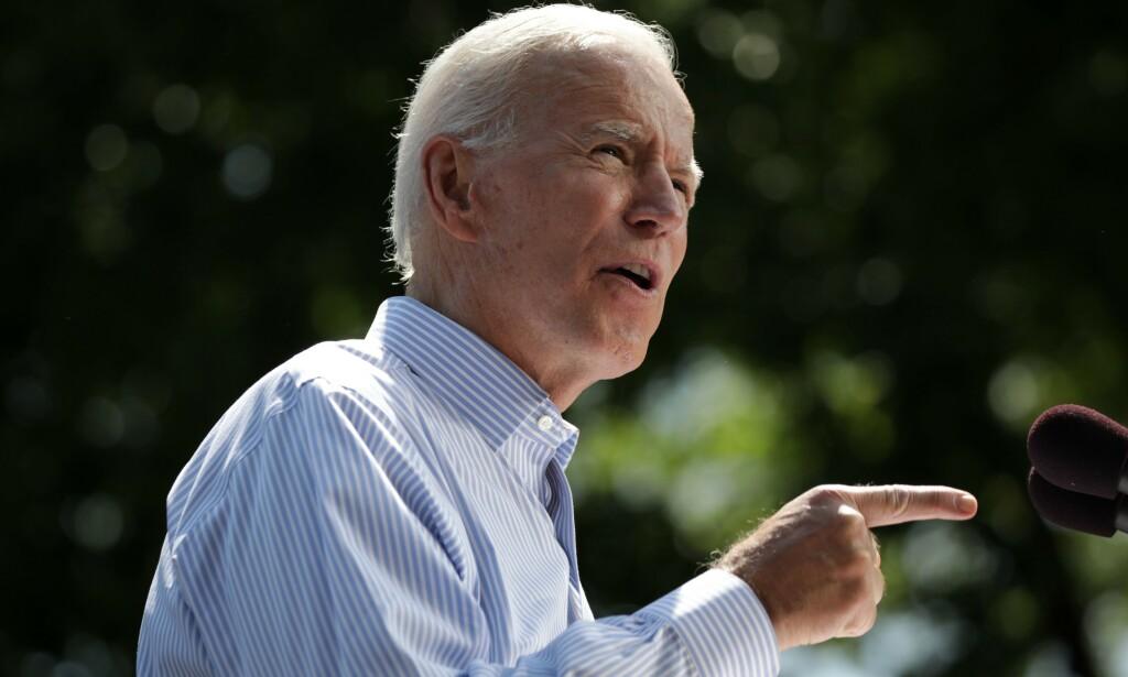BENEKTER ANKLAGENE: Demokratenes presidentkandidat, og tidligere visepresident under Barack Obama, Joe Biden. Foto: Dominick Reuter / AFP / NTB scanpix