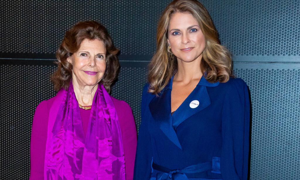 KRITISERER: Sveriges dronning Silvia mener at ungdommen ikke tar coronapandemien verden står midt oppi på alvor. Her med datteren prinsesse Madeleine i desember 2019. Foto: NTB Scanpix