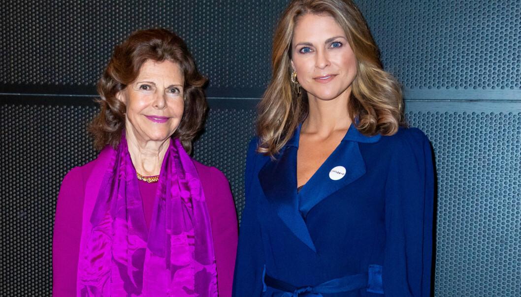 <strong>KRITISERER:</strong> Sveriges dronning Silvia mener at ungdommen ikke tar coronapandemien verden står midt oppi på alvor. Her med datteren prinsesse Madeleine i desember 2019. Foto: NTB Scanpix