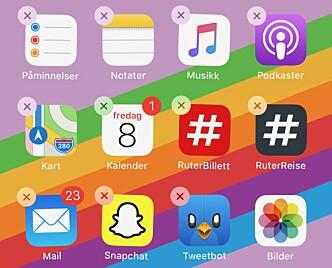 <strong>VÆR BRUTAL:</strong> Apper du aldri bruker, har ingenting på mobilen din å gjøre. Sett hjemskjermen i redigeringsmodus og slett i vei! Skjermbilde: Kirsti Østvang