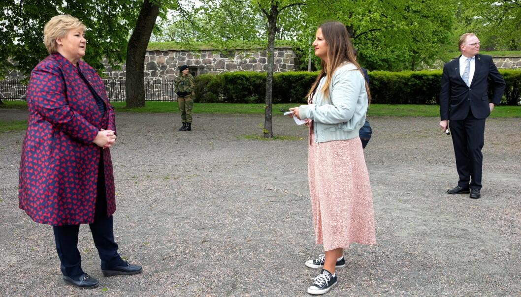 VI MØTTE STATSMINISTEREN: Erna Solberg, Norges statsminister, tok seg tid til et intervju med KK etter minnemarkeringen. FOTO: Andreas Fadum