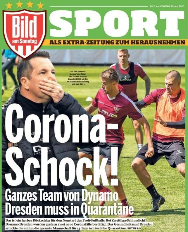 CORONASJOKK: Avisa Bild slår saken stort opp i sin søndagsutave. - Coronasjokk, skriver avisa.