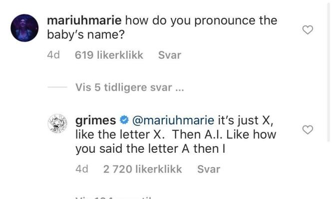 <strong>MED SVAR:</strong> Grimes svarer på en annen måte enn barnefaren. Skjermdump: Instagram