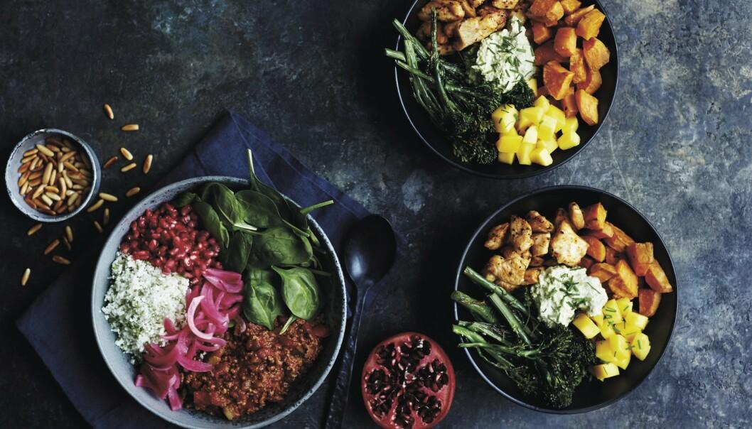 Oksegryte med blomkålris, syltet rødløk og granateple til venstre og krydret kylling med søtpoteter, mango og edamamehummas til høyre. FOTO: Betina Hastoft