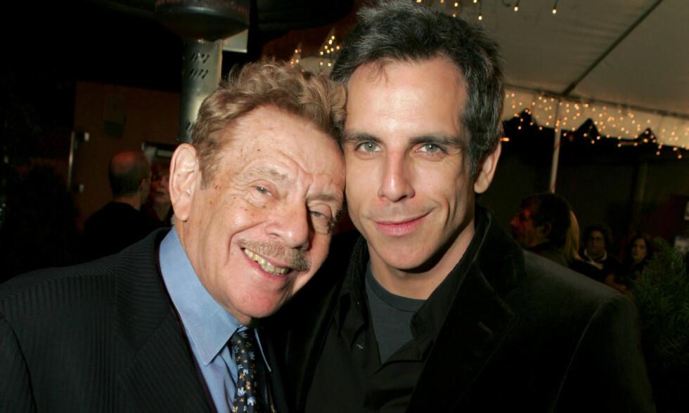 FAR OG SØNN: Ben Stiller fulgte i sin fars fotspor, og ble selv også skuespiller. Nå takker han for støtten etter farens dødsfall, som ble kjent mandag. Foto: NTB Scanpix