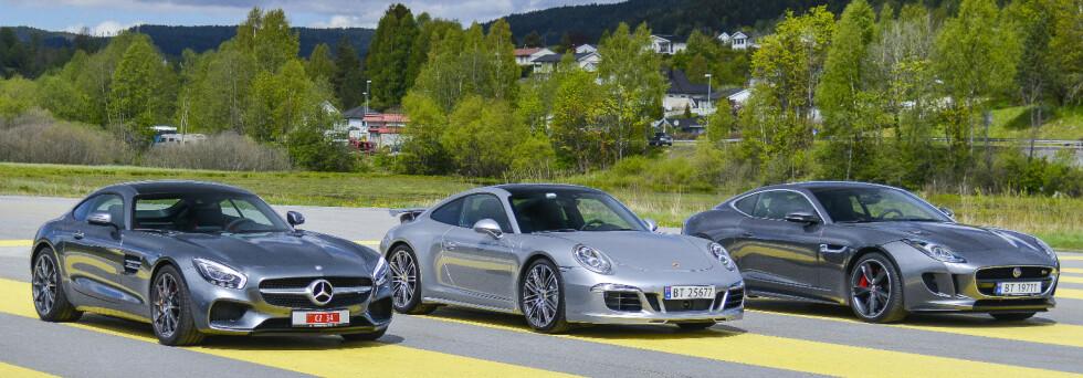 TRE RÅE: Porsche er målestokken, men så kom AMG GT og Jaguar ... Foto: Jamieson Pothecary