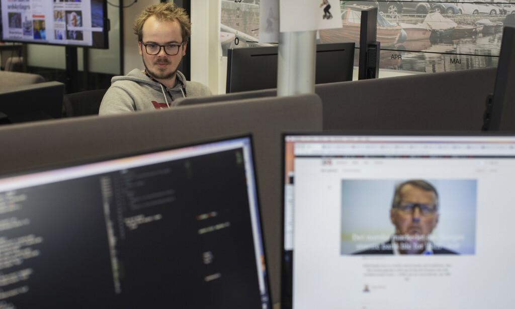 Oslo 20190619  Stemningsbilder til jobbannonser etc fra redaksjonen til E24 i Akersgata 55. Journalister og markedsavdeling i arbeid.  FOTO: ANDREA GJESTVANG