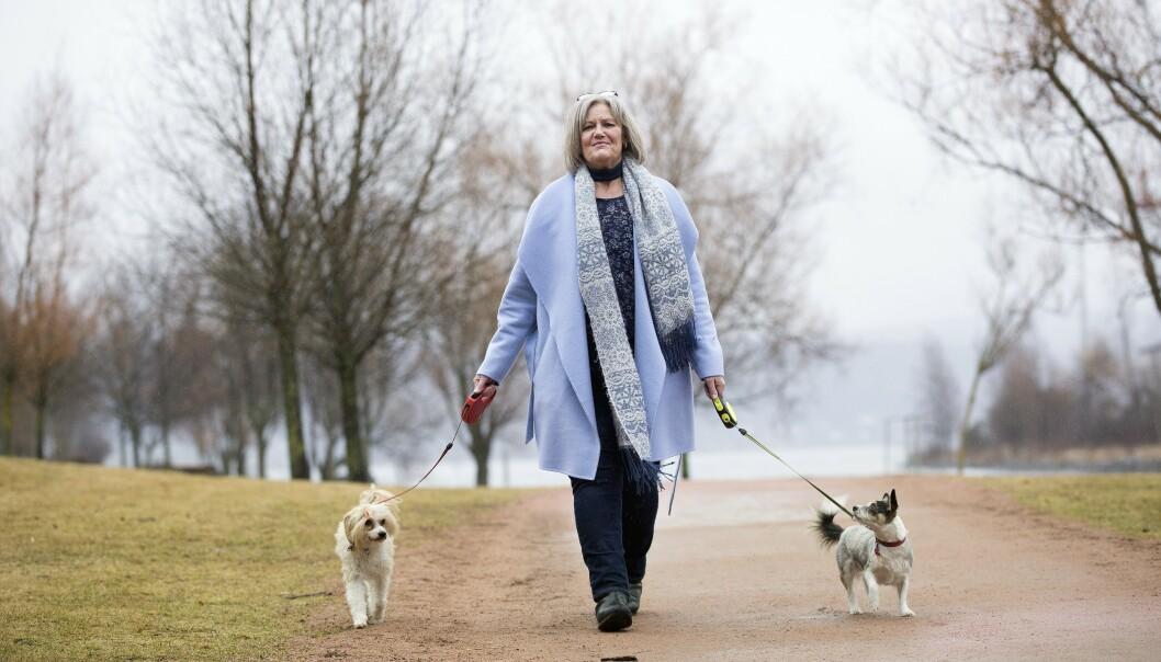 <strong>UT PÅ TUR:</strong> Kristin mener bestemt at hundene er en viktig årsak til at hun kom seg opp fra rullestolen og ut i livet. Foto: Sverre Chr Jarild
