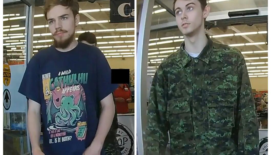 Kam McLeod (19) og Bryer Schmegelsky (18) fanget på overvåkingskamera i bilder frigitt av politiet. Foto: Reuters/NTB Scanpix