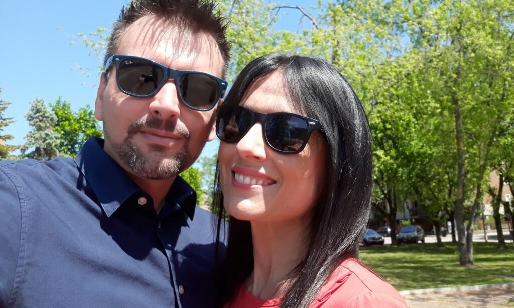 KJÆRESTER: Kjærlighetshistorien fra Verona i Italia spredte seg fort på sosiale medier, og paret blir kalt coronapandemiens Romeo og Julie. Foto: Privat