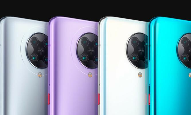 <strong>FIRE FARGER:</strong> Her er de fire fargene Poco F2 Pro blir tilgjengelig i. Foto: Poco