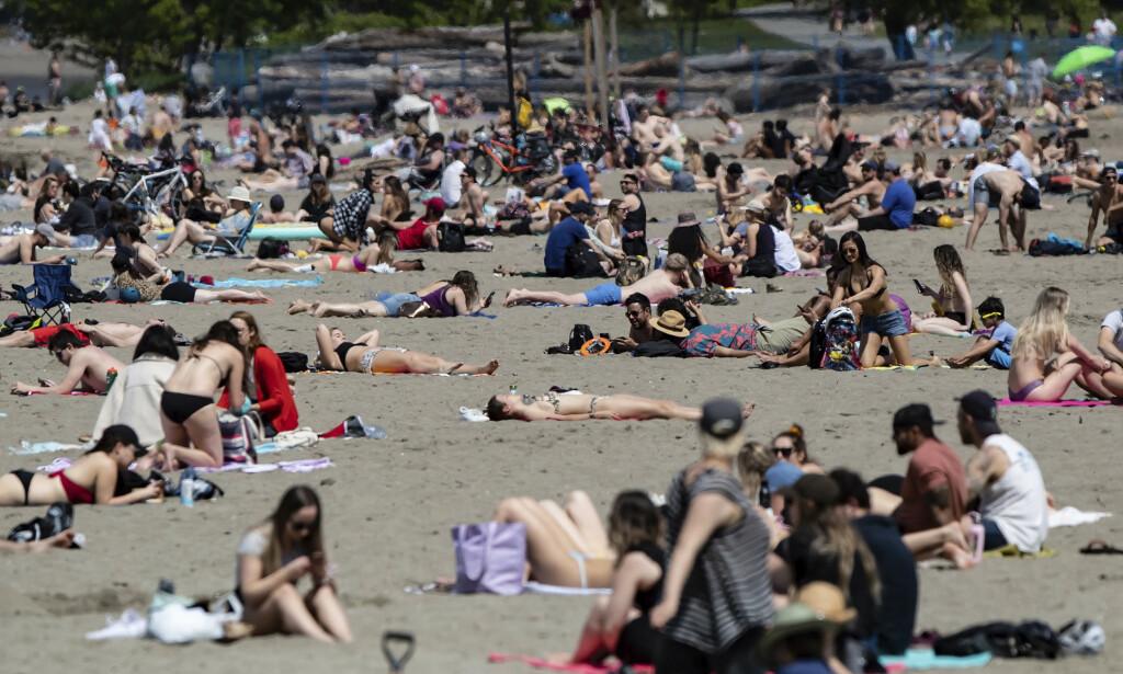 Coronaviruset lar seg ikke knekke av vanlig sommervarme, slår amerikanske og russiske forskere fast. Faren for smittespredning øker derimot når mange samles utendørs for å nyte solen, som her på Kitsilano-stranden Vancouver i Canada i forrige uke. Foto: The Canadian Press / AP / NTB scanpix