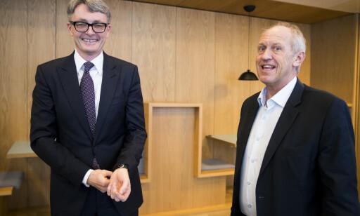 DRAMATISK: Aker-sjef Øyvind Eriksen og kommunikasjonsdirektør Atle Kigen (t.h.). Foto: Terje Pedersen / NTB scanpix