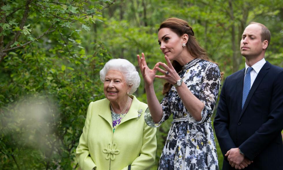 VANSKELIG TID: Dronning Elizabeth har sittet på tronen i over 68 år. Slik preges hun av coronakrisen. Her avbildet sammen med hertuginne Kate og barnebarnet prins William. Foto: NTB Scanpix