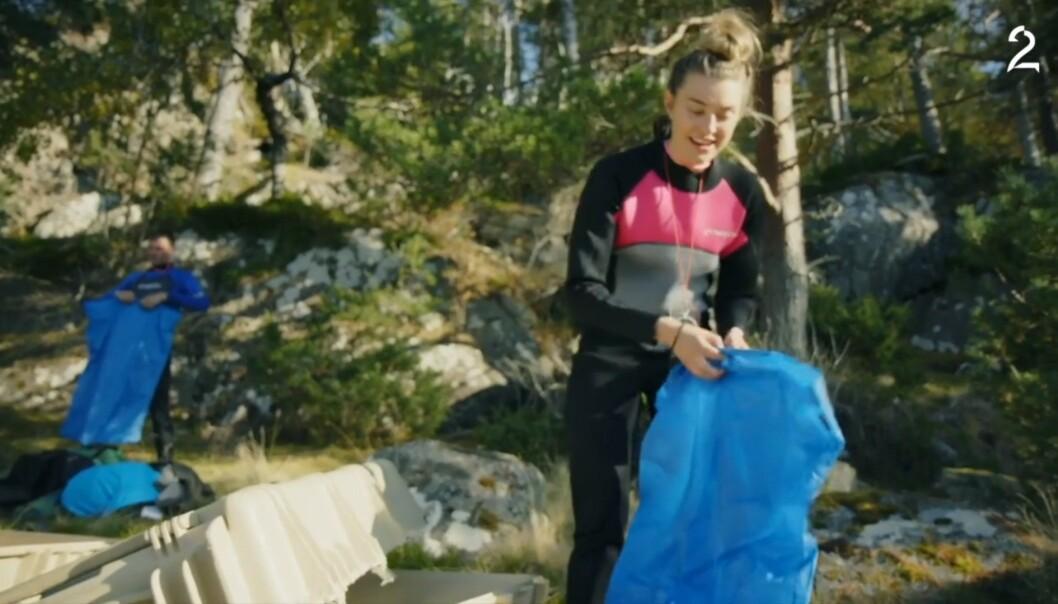<strong>GLIPP:</strong> Lise Karlsnes ankom øya en stund etter Bratberg. Hun klarte å ta med seg feil nøkkel, som gjorde at Bratberg i en stund lette forgjeves. Foto: TV 2