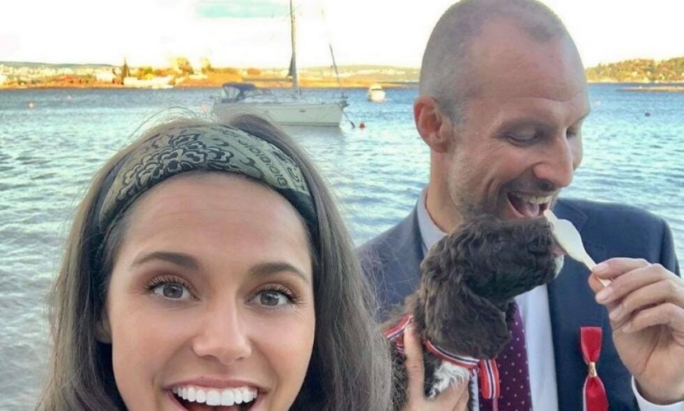 KJÆRESTER: Søndag kveld bekrefter Amalie Iuel og Aksel Lund Svindal at de er et par. Foto: Instagram