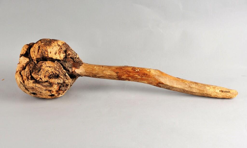 DRAPSKLUBBE: Våpenet til Syftestadsmorderen. Foto: VEST-TELEMARK MUSEUM