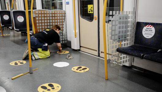 Alle t-baner skal være merket i løpet av neste uke. Foto: Nina Hansen/Dagbladet