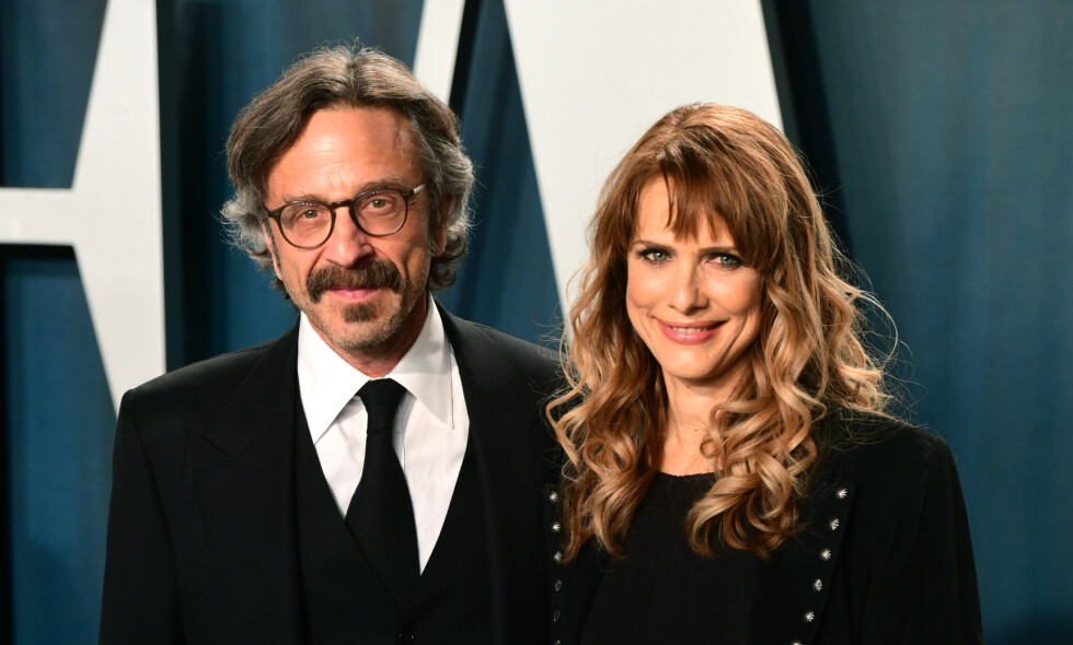 DØDE: Marc Maron med sin nå avdøde kjæreste Lynn Shelton, på Vanity Fairs Oscar-fest i februar i år. Foto: Ian West/ Pa Photos/ NTB scanpix