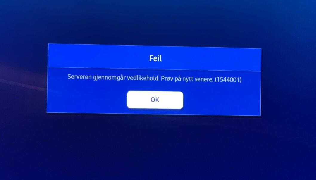 """<strong>FEIL FEILMELDING:</strong> Serveren gjennomgikk ikke vedlikehold. Problemene ble borte etter en """"hard reset"""". Foto: Bjørn Eirik Loftås"""