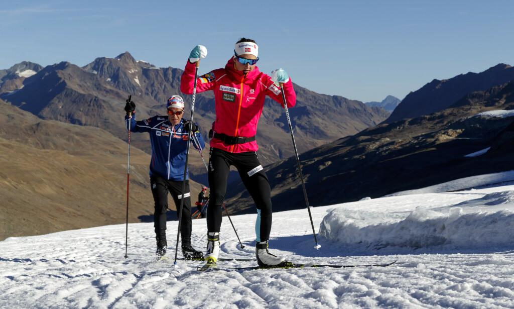SPESIELLE TIDER:Langrennsløper Ingvild Flugstad Østberg under høydetrening på isbreen i italienske Val Senales i 2018. Foto: Cornelius Poppe / NTB scanpix.