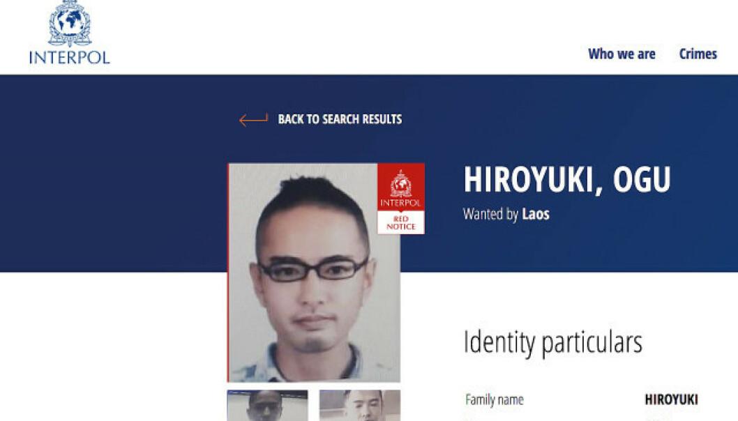 <strong>ETTERLYST:</strong> Faksimile av Interpols etterlysning av Hiroyuki Ogu.