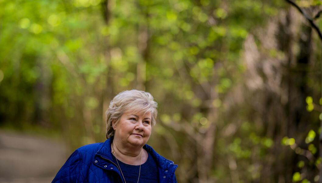 Statsminister Erna Solberg på den første seniorturen på Bygdøy etter koronanedstengingen. Foto: Stian Lysberg Solum / NTB scanpix