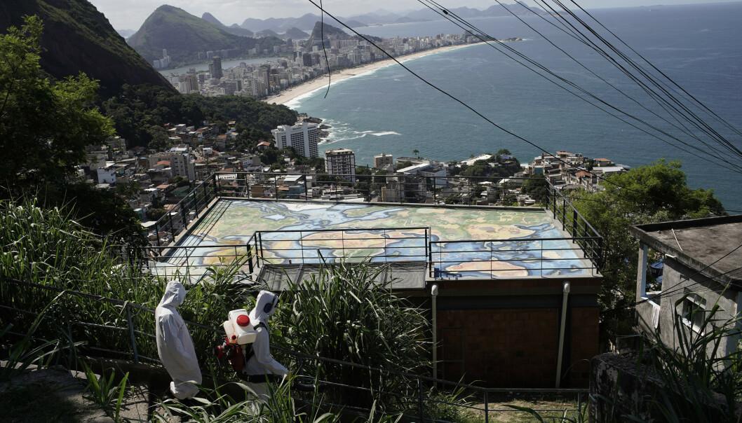 <strong>DESINFISERES:</strong> Trappetrinnene opp til et av utsiktspunktene i Vidigal-favelaen desinfiseres i et forsøk på å stanse spredningen av viruset. Foto: Silvia Izquierdo/ AP